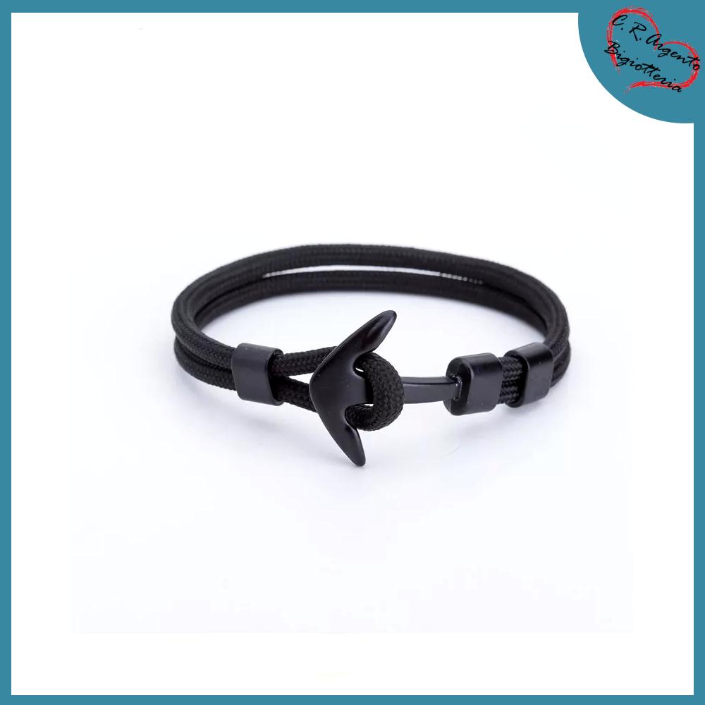 17a56e81aaf6ac bracciale braccialetto da uomo in corda e con ancora colore nero stile  nautico tipo paracord