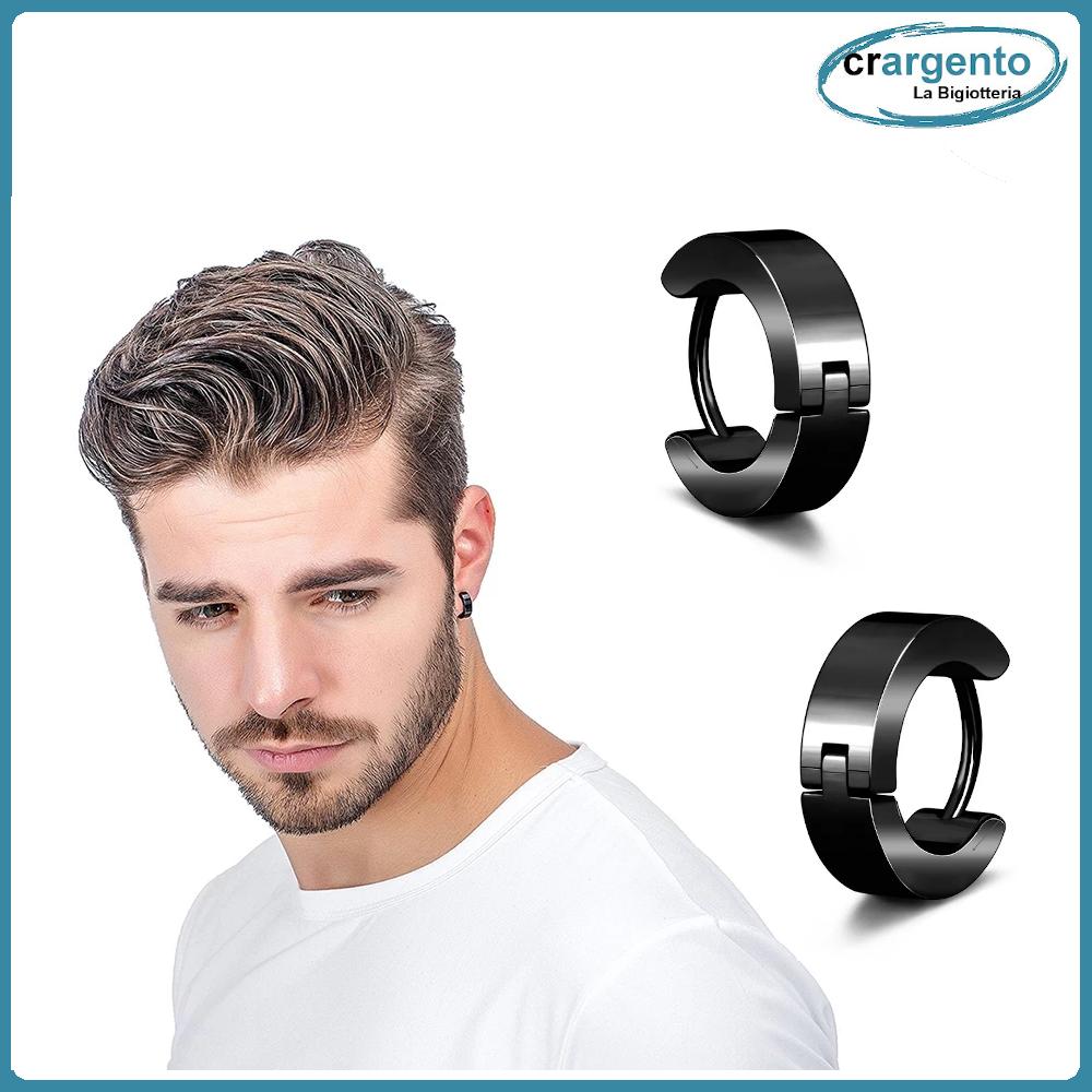 molto carino 78746 081c9 Dettagli su orecchini neri a piccoli uomo cerchio nero da orecchino donna  pirata colorati 2